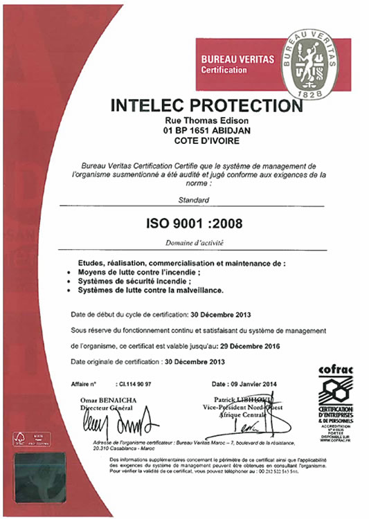 Intelec protection certifications - Veritas bureau de controle ...